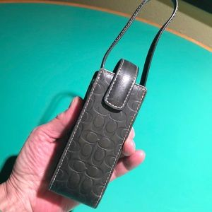 Coach Black Leather Monogrammed Ipod Case